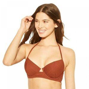 Shade & Shore 34B Rust Orange Bikini Top